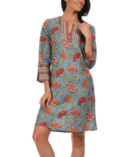 Calecon Club Blue & Bordeaux Floral Jewel-Accent Shift Dress | zulily