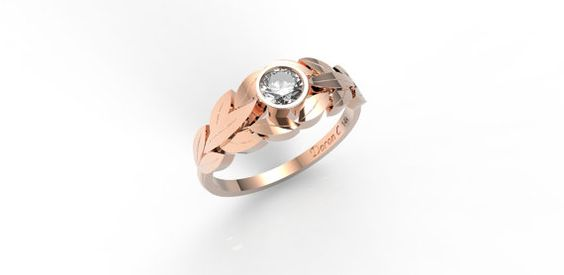Leaves Engagement Ring 14k gold ringRose gold and by DoronCohen