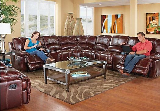 picture of Cindy Crawford Home Van Buren 8 Pc Leather Sectional from Sectionals Furniture | furniture | Pinterest | Sectional living rooms ...  sc 1 st  Pinterest : burgundy leather sectional - Sectionals, Sofas & Couches