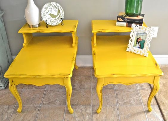 Remodelaholic | Dandelion Yellow Painted End Tables