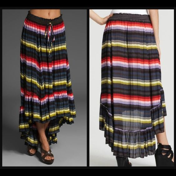 "Nwt Free People hi lo multi stripe skirt XS Nwt striped hi lo crinkle skirt size Xs. 100% polyester. Waist 13.5""-18"" stretched . Skirt about 32""-44"" length Free People Skirts High Low"
