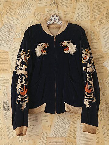 Vintage Reversible Embroidered Bomber Jacket  Bombers