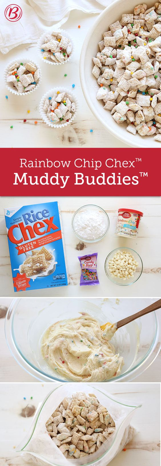 Crunchy Chex™ Muddy Buddies™ gets a seriously sweet upgrade with the addition of fan-favorite Rainbow Chip frosting. Tip: Look for white vanilla baking chips that contain cocoa butter. They'll melt easily and are less likely to scorch when heated.