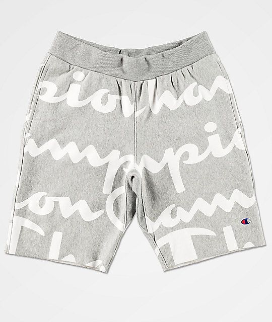 Champion Reverse Weave Script Grey Sweat Shorts In 2020 Champion Clothing Shorts Leggings Are Not Pants