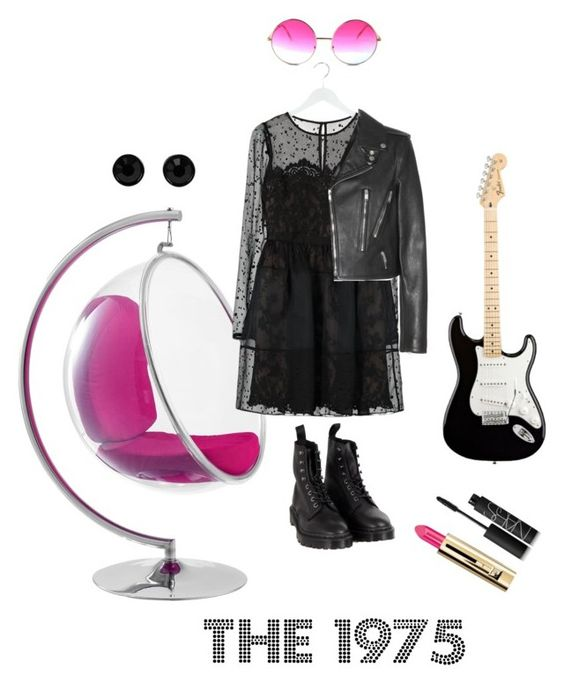 """The 1975 - Love Me - inspired"" by monsteryay ❤ liked on Polyvore featuring Dr. Martens, Notte by Marchesa, Yves Saint Laurent, Janis, Guerlain, NARS Cosmetics and Givenchy"
