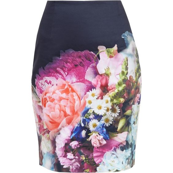Ted Baker Karyce Focus Bouquet Pencil Skirt, Dark Blue ($115) ❤ liked on Polyvore featuring skirts, dark blue pencil skirt, print pencil skirt, patterned skirts, floral cami and knee length pencil skirt