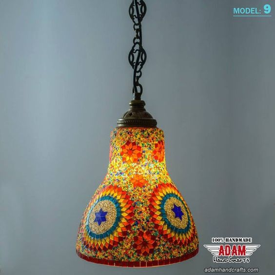 Colourful Authentic Retro Multicolor Mosaic Hanging Lamp Etsy In 2020 Hanging Lamp Handmade Oil Lamp Handmade Chandelier