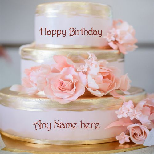 Write Your Name On Beautiful Rose Flowers Luxury Birthday Cake Pic