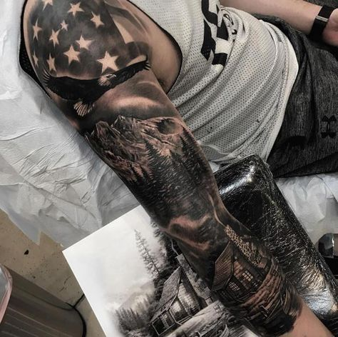 Patriotic American Sleeve Tattoo By Jp Alfonso Ultracooltattoos Half Sleeve Tattoos For Guys Full Sleeve Tattoo Design Nature Tattoo Sleeve