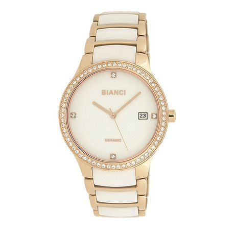 "Bella White Ceramic Watch Studded Bezel (Rose Gold) (Retail Price $349.00) ""Our Price is $132.00"" only at nomorerack.com"