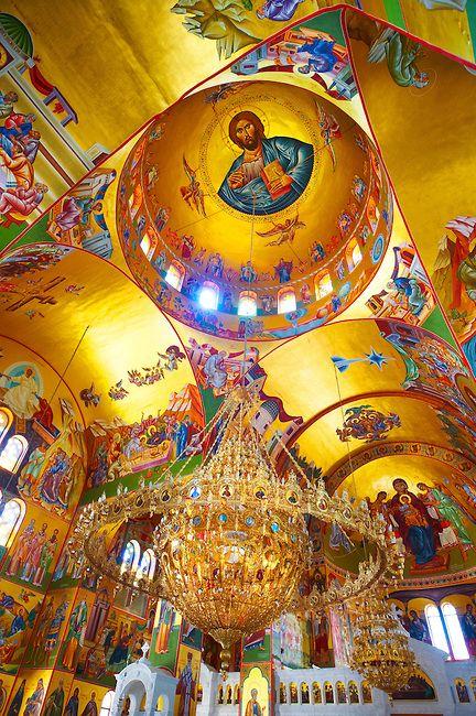 The Byzantine style frescos of the new Orthodox church of Omala. Kefalonia, Ionian Islands, Greece.: