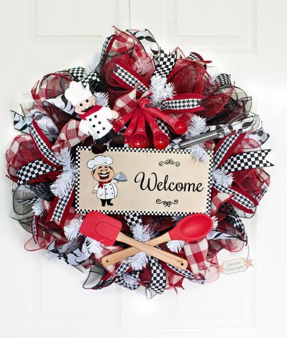 """24"""" Chef Welcome Deco Mesh Wreath, Chef Wreath, Welcome Wreath, Everyday Mesh Wreath, Kitchen Wreath, Fat Chef Decor, Kitchen Chef Decor"""