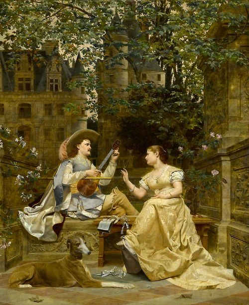 """The Music Lesson"" - Paul Alphonse Viry - 1832/1913 - France."