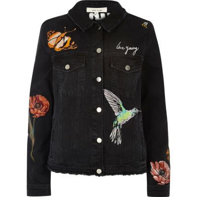 I'm shopping Black embroided denim jacket in the River Island iPhone app.