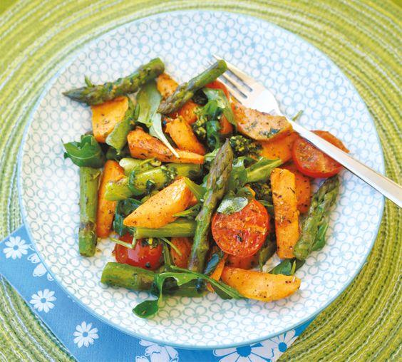 Süßkartoffelsalat mit Spargel