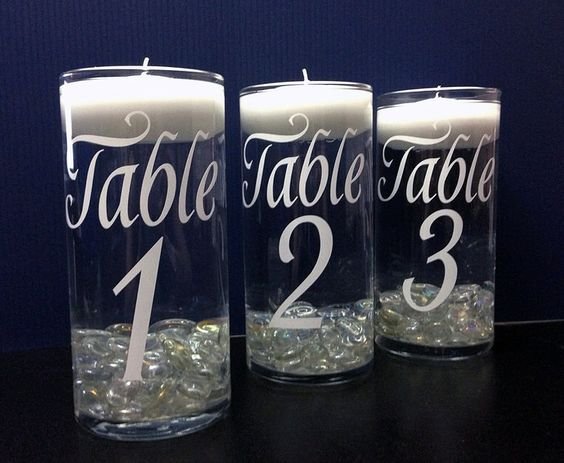 DIY vinyl table numbers,  Choose Color of Vinyl Graphic, Wedding Decor, Wedding Decorations, Wedding table Numbers, Wedding Vase, Wedding by VinylDecalShoppe on Etsy https://www.etsy.com/listing/223113909/diy-vinyl-table-numbers-choose-color-of