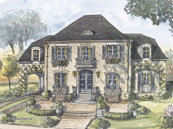 upstairs three ways 36199tx european french country traditional luxury narrow lot 2nd floor master suite butler walk in pantry cad avail