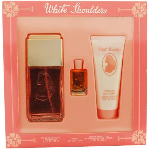 White Shoulders For Women Set, Eau De Cologne Spray 4.5 oz, Body Lotion 3.3 oz & Parfum .25 oz Mini by Evyan. $15.96. This item is not for sale in Catalina Island. Packaging for this product may vary from that shown in the image above. Launched by the design house of Evyan in 1949, WHITE SHOULDERS is a women's fragrance that possesses a blend of classic florals including gardenia, lilac, amber, oakmoss, and jasmine.  Brand now owned by Elizabeth Arden. It is recommended for eveni...
