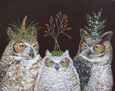 : Look hehe, I'm not the only one who puts things on top of the heads of owls :D What an inspiring work! by ~ Vicki Sawyer: