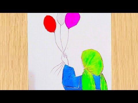 Eid Drawing Easy رسم عن عيد الفطر المبارك رسومات سهلة عن العيد رسم بنت محجبة تحمل بالونات العيد Youtube Art Fictional Characters Character