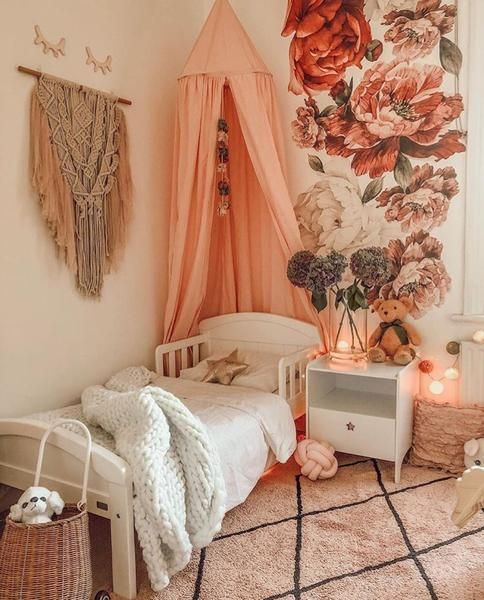 Wild Flower Wall Stickers Baby Girl Decor Vintage Girls Rooms