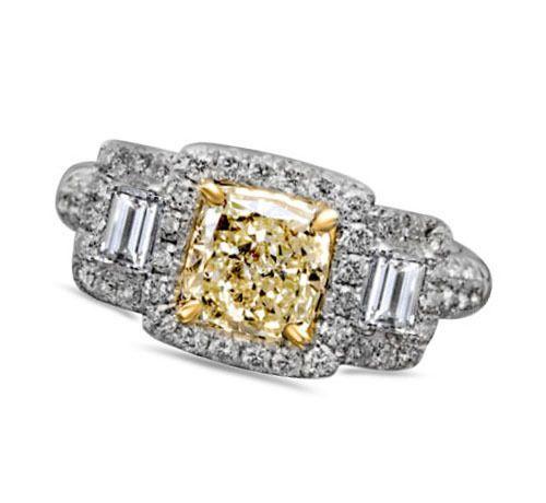 14K WHITE GOLD 2.42 CT. RADIANT CUT APPRAISAL CANARY DIAMOND ENGAGEMENT RING #affinityfashionjewelry #SolitairewithAccents #EngagementWeddingAnniversaryPromiseProposal
