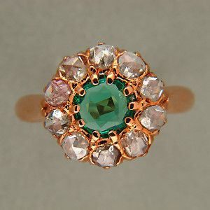 1890's VICTORIAN 14K PINK GOLD NATURAL BERYL EMERALD ROSE CUT DIAMOND RING