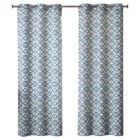Add a chic finishing touch to your living room or master suite with this lovely curtain, showcasing an alluring trellis motif in blue.