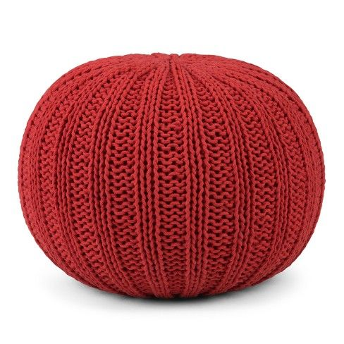 Shelby Hand Knit Round Pouf Knitted Pouf Pouf Red Candy