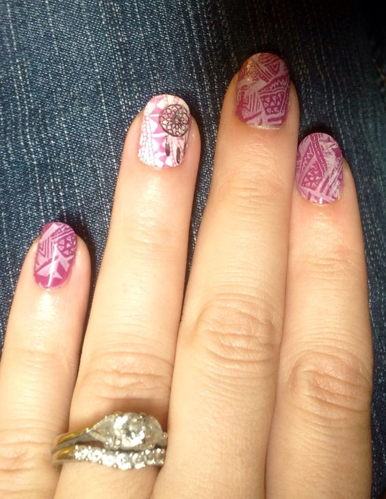 La colors petunia and sinful colors easygoing. My first stamping attempt!: