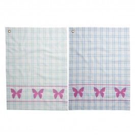 """Rice Geschirrtuch """"Pink Butterfly"""" (Blau/Mint)"""
