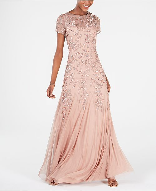 Adrianna Papell Petite Floral Beaded Gown Reviews Dresses Petites Macy S Petite Evening Gowns Beaded Gown Mother Of The Bride Dresses