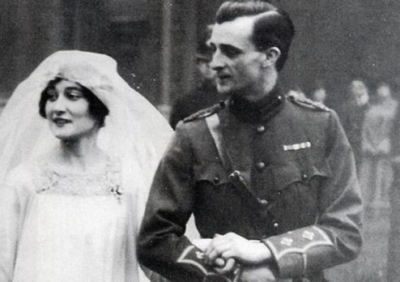 John, 9th Duke of Rutland, and his bride, Kathleen Tennant (Kakoo), on their wedding at St Margarets Church, Westminster, on January 27, 1916