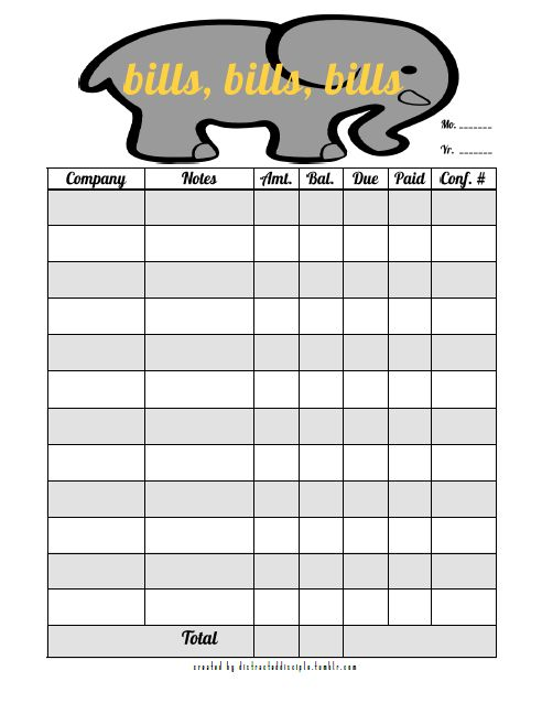 Chevron Bill Organizer - Printable PDF Organization Pinterest - Bill Organizer