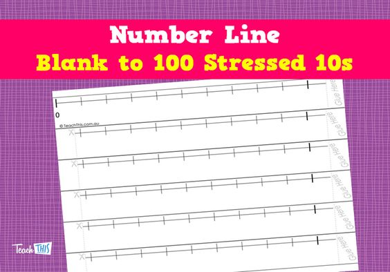 Number Line - Blank to 100 Stressed 10s