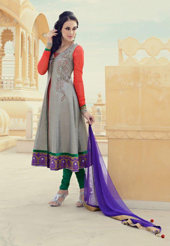 Grey and Peach Cotton Silk Churidar Kameez Online Shopping: KGF4081
