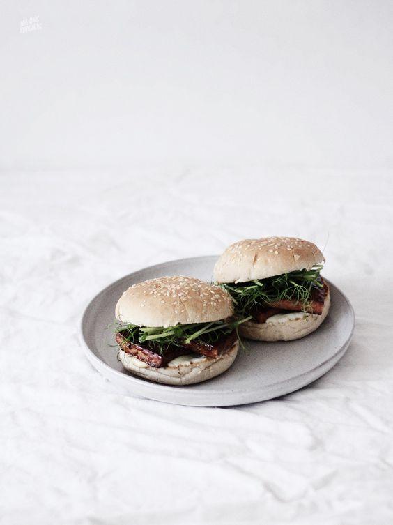 sesame burger buns with lemongrass tofu & wasabi mayo// | | Pinterest ...