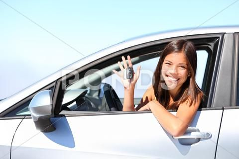 Car Driver Woman Girl Driving New Car Showing Car Keys Stock