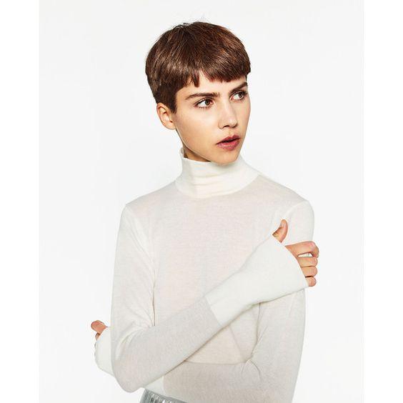 JERSEY CUELLO CISNE - Cuello alto-PUNTO-MUJER | ZARA España (540 CZK) ❤ liked on Polyvore featuring white jersey