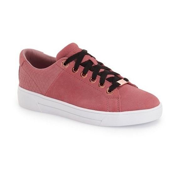 Ted Baker London 'Riwven' Sneaker ($140) ❤ liked on Polyvore featuring shoes, sneakers, pink suede, real leather shoes, pink sneakers, genuine leather shoes, leather trainers and ted baker