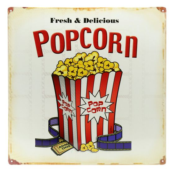 Popcorn Movie Theater Lobby Metal Sign Popcorn Tins