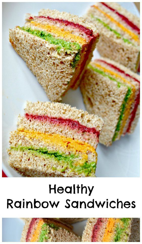 healthy rainbow sandwiches for kids, great for parties or lunch boxes. Fun way to get kids to eat vegetables