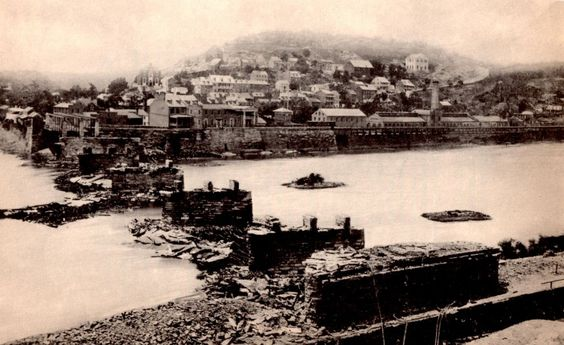 View of Harper's Ferry from the Maryland side of the Potomac  showing the destruction of the railroad bridge following Lee's Antietam Campaign