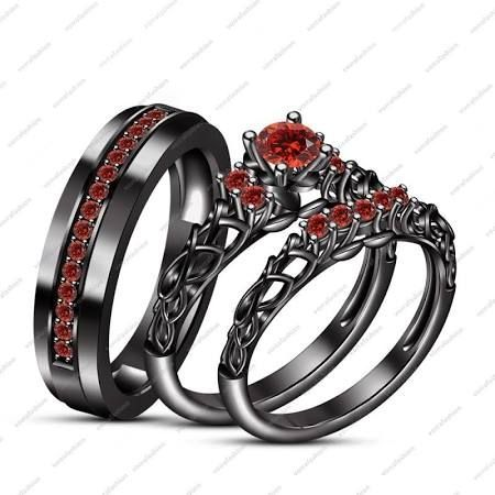 Gothic Wedding Ring Sets Google Search Wedding Ring Trio Sets Skull Wedding Ring Black Gold Jewelry