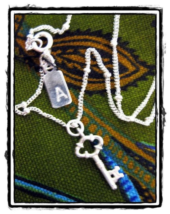 Toni Necklace  Sterling Silver Key Charm 16 or 18 by abbyhathaway, $25.00