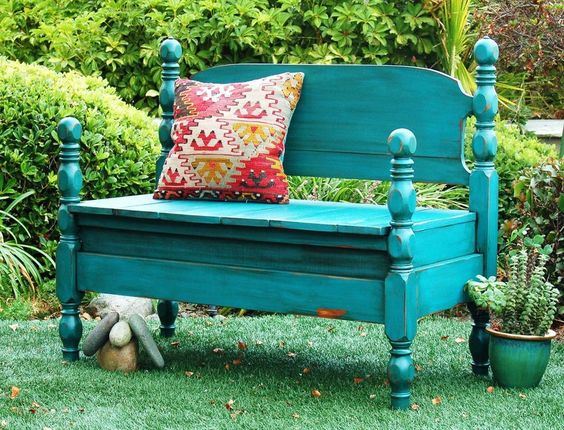 Twin bed to bench. Cute.