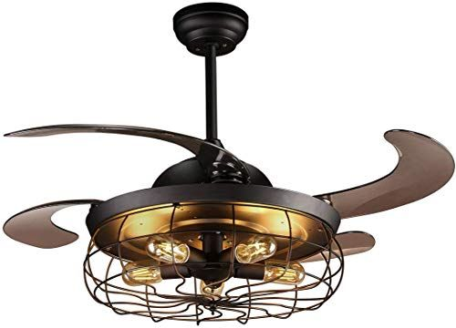 Amazing Offer On Reiga 44 Inch Black Retractable Blade Vintage Caged Chandelier Fan Remote Control Noiseless Motor 5 Edison Bulbs Included Online Toplikecl In 2020 Chandelier Fan Farmhouse Ceiling Fan Ceiling Fan With Light