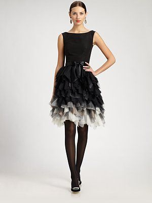 OSCAR DE LA RENTA  Silk Feathered Skirt Dress