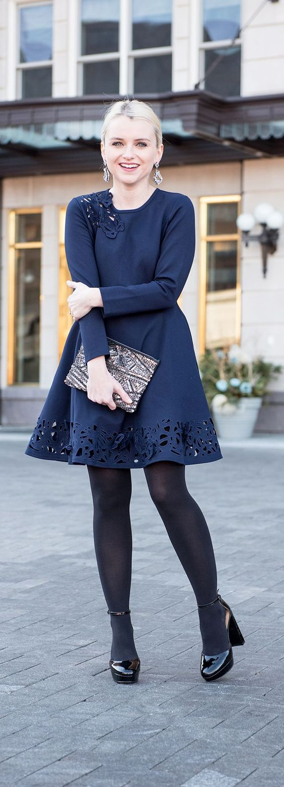 Navy Party Dress - Navy and Black Fashion - Poor Little It Girl