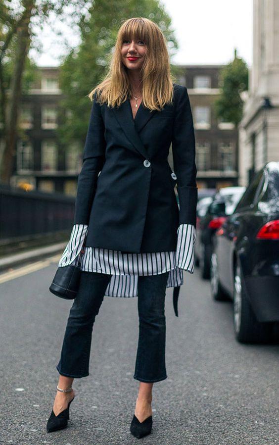 Blazer com camisa listrada, calça social pantacourt
